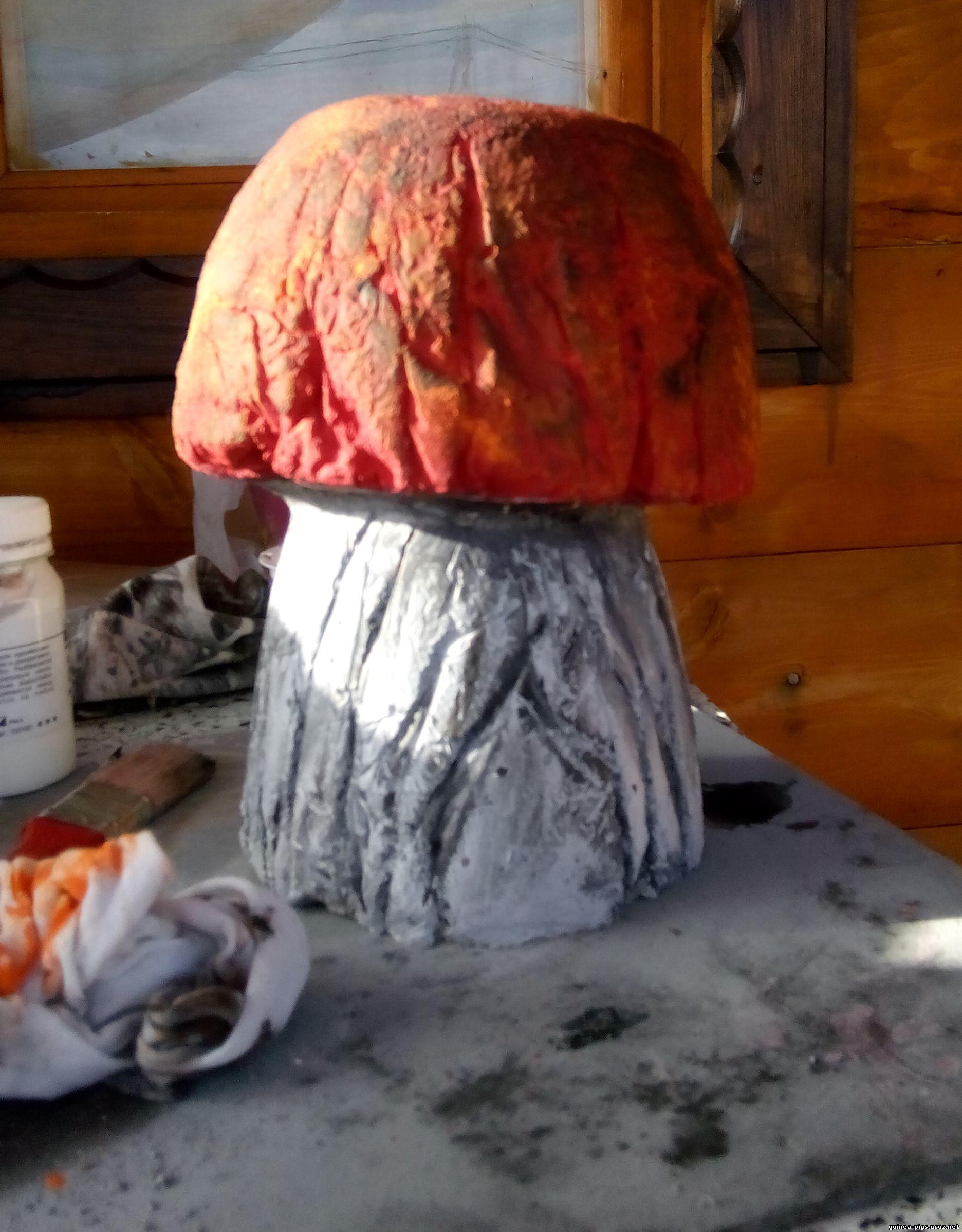 Как сделать гриб из цемента для сада 35